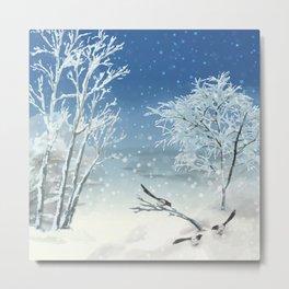 Magpie Winter Landscape Metal Print