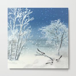 Magpie Winter Landscape Metal Print