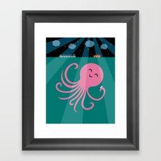 Octopus Selfie at Night Framed Art Print