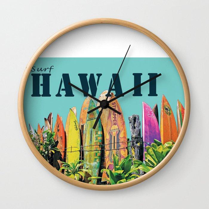 Hawaiian Surfboard Postcard Print Wall Clock