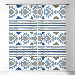 SouthWestern Boho Tribal Pattern of Painted Stripes and Geometric Shapes in Aztec Blue and Gray Blackout Curtain