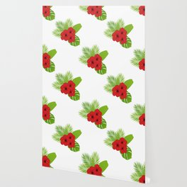Red hibiscus and palm leaves seamless pattern. Wallpaper
