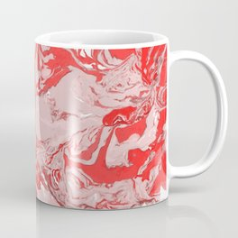 Red and white Marble texture acrylic Liquid paint art Coffee Mug