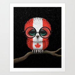 Baby Owl with Glasses and Canadian Flag Art Print