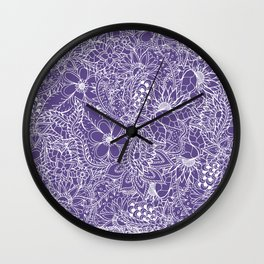 Modern white handdrawn floral pattern on purple ultra violet illustration Wall Clock