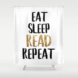 Eat Sleep Read Repeat Gold Shower Curtain