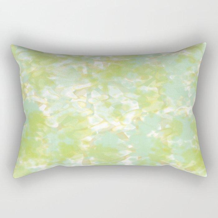 Golden Green Watercolor Abstract Rectangular Pillow