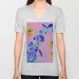 Pink Golden Butterflies Blue Morning Glory Pattern Art Unisex V-Neck