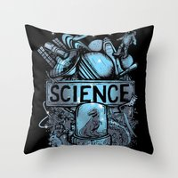 science Throw Pillows featuring Science by Crumblin' Cookie