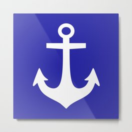 Anchor (White & Navy Blue) Metal Print