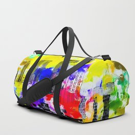 building of the hotel and casino at Las Vegas, USA with blue yellow red green purple painting abstra Duffle Bag