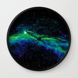 Veil Nebula Green Blue Wall Clock