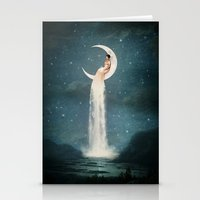 micklyn Stationery Cards featuring Moon River Lady by Paula Belle Flores