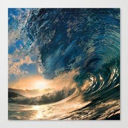 Beach - Waves - Ocean - Sun - Clouds - Blues - Sundown Canvas Print