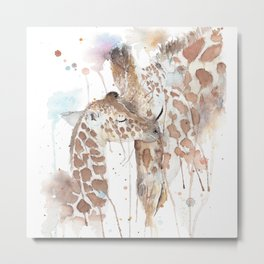 """Watercolor Painting of Picture """"Mother and Son"""" Metal Print"""