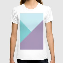 Geometric abstract teal aqua purple color block pattern T-shirt