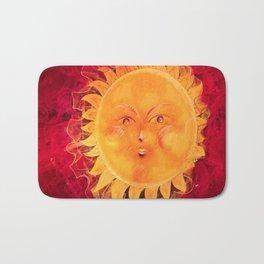 Digital painting of a chubby sun with a funny face Bath Mat