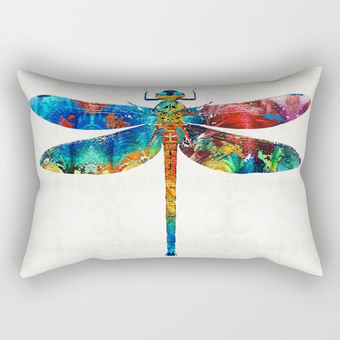 Colorful Dragonfly Art By Sharon Cummings Rectangular Pillow