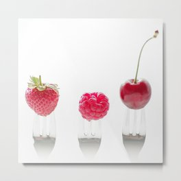 3 #red #fruits #cherry #strawberry  #raspberry on #3 #forks  Metal Print