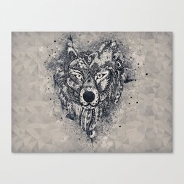 Geometric Wolf Mandala Canvas Print