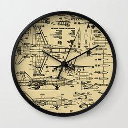 F-18 Blueprints // Tan Wall Clock