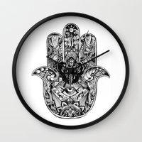 hamsa Wall Clocks featuring Hamsa by Cherry Virginia