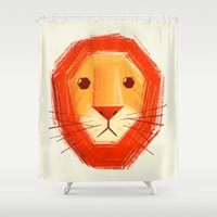 sad Shower Curtains featuring Sad lion by Lime