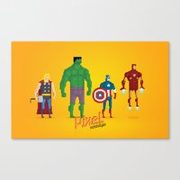 super heroes Canvas Prints featuring Super Heroes - Pixel Nostalgia by Boo! Studio