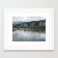 rowing Framed Art Prints featuring Rowing towards the bridge by Matthew Booth