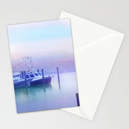 Moored Boats In the Early Morning Fog Stationery Cards