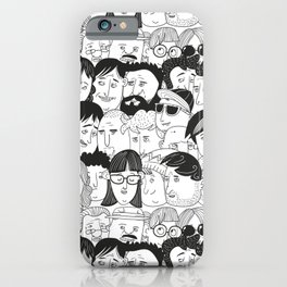 Colorful People Faces Pattern iPhone Case