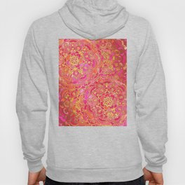 Hot Pink and Gold Baroque Floral Pattern Hoody