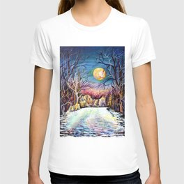 Sublime Watercolor Scenery with Sweden Scandinavian Full Moon Landscape T-shirt
