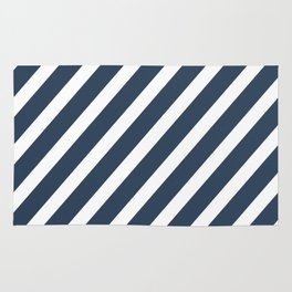 Navy Blue Diagonal Stripes Rug