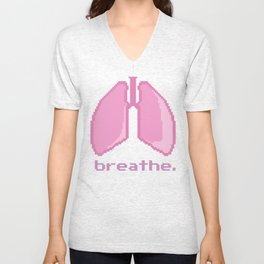 Breathe. Pixelated Lungs Unisex V-Neck
