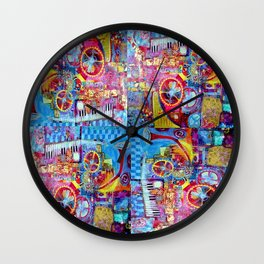 Steam Punk Music with key Board, Horns, Gears  In Blue, Pink & Yellow Abstract Wall Clock