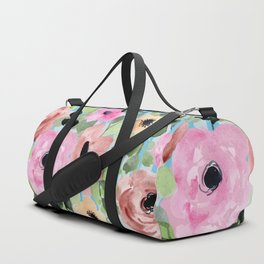 Watercolor Flowers Preppy Pastels Duffle Bag