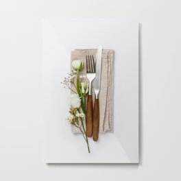 Fork, knife and flowers on white background, flat lay Metal Print