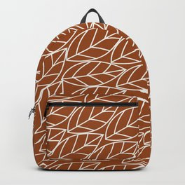 Doodle Leaves Rust and Light Grey (almost white) Backpack