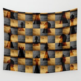 Wooden Chessboard and Chess Pieces  pattern Wall Tapestry
