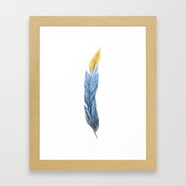 Feather Art, Blue Feather, Long Feather, Yellow, Colorful Feather Art Framed Art Print