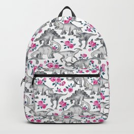 Dinosaurs and Roses - white Backpack
