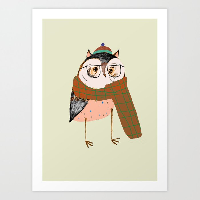 Owls Love Scarfs.  Art Print
