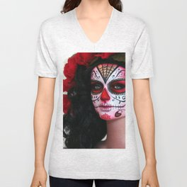 Rojo Sugar Skull Doll Unisex V-Neck