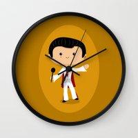 elvis presley Wall Clocks featuring Elvis Presley by Sombras Blancas Art & Design