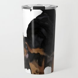 Rottweiler Puppies Playing Vector Isolated Travel Mug