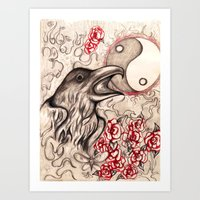 ying yang Art Prints featuring Ying Yang  by Emalee Røse