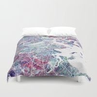 boston map Duvet Covers featuring Boston map by MapMapMaps.Watercolors