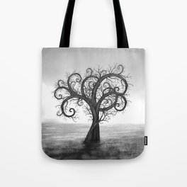 Golden Spiral Tree Black and White #2 Tote Bag