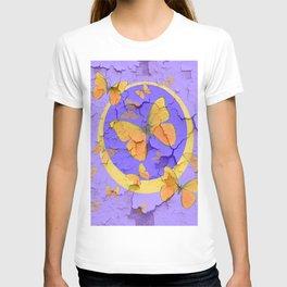 OLD YELLOW BUTTERFLIES &  LILAC WALLPAPER MODERN ART  f T-shirt